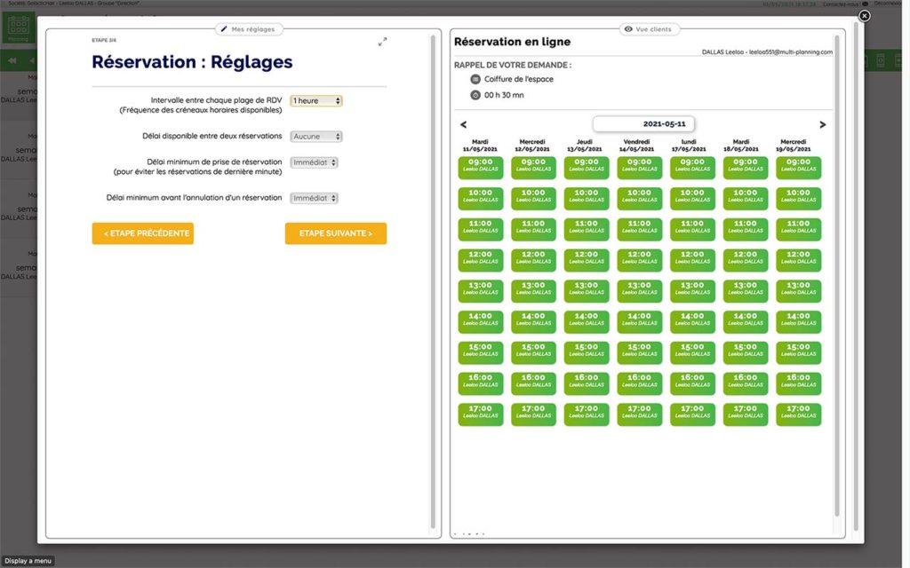 Écran de réglages complémentaires réservation en ligne