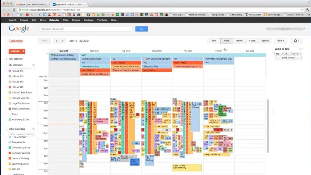 Agenda partagé avec vue à la semaine sur Google Calendar