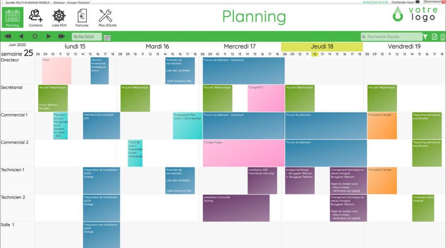 vue de l'agenda partagé sur multi-planning, outil dédié