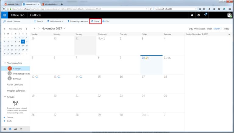 Agenda partagé sur client e-mail Outlook