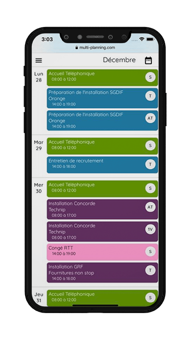 iPhone avec agenda partagé multi-planning