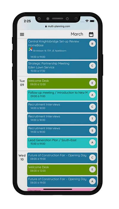 Mobile View of Online Shared Calendar with multiple users