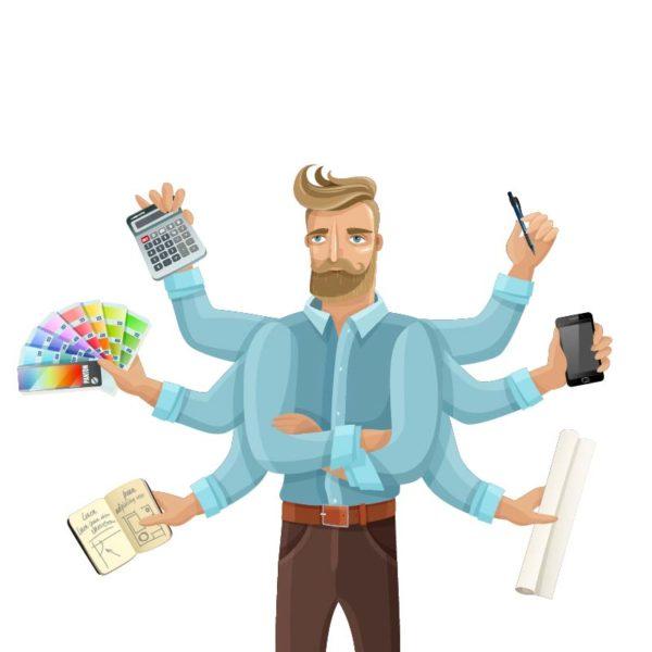 Illustration d'un homme a six bras, gérant plsu